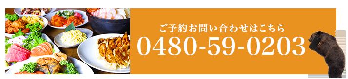 ご予約お問い合わせはこちら0480-59-0203